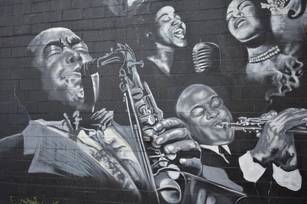 Picture of a mural of a number of jazz musicians