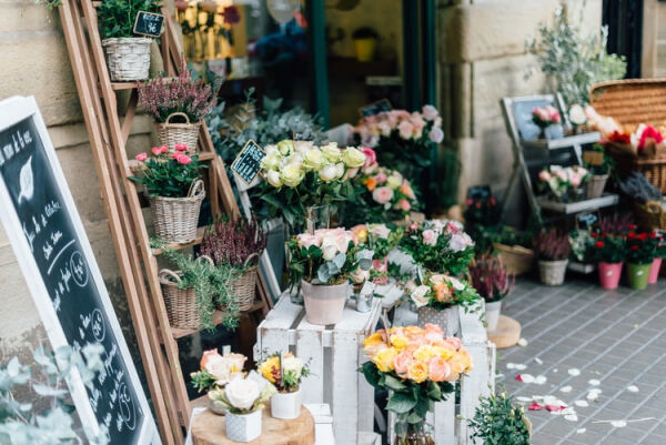 A picture of the display in front of a florist's shop
